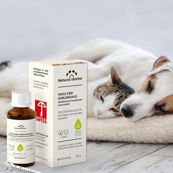 Huile CBD Sublinguale 3% pour chiens et chats (-15kg)